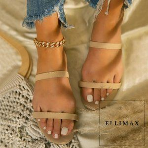 NEW🔥 Nude Double Strap Open Toe Slide Flat Sandal